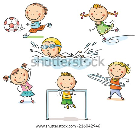 Little kids and their sports activities - stock vector
