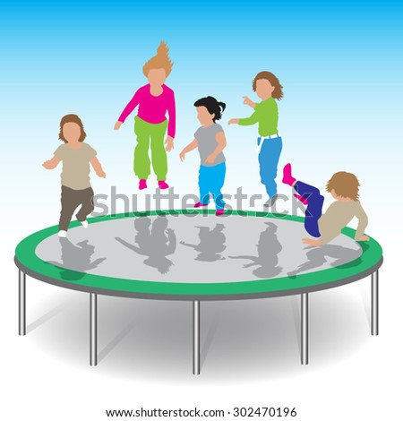 Little kids jumping on trampoline.Vector illustration