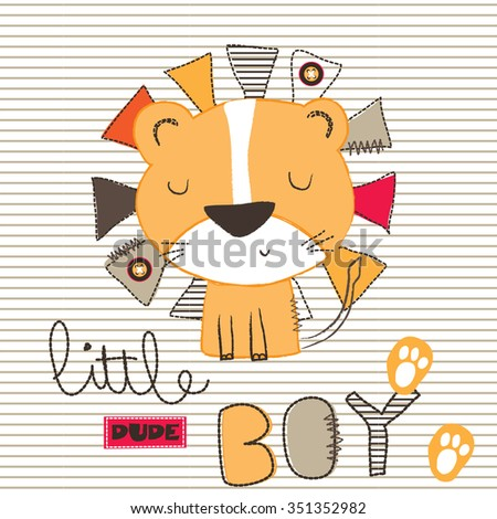 little lion baby on striped background, T-shirt design vector illustration - stock vector