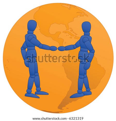Little Men shaking hands with orange globe background - stock vector