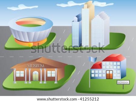 Little modern model city plan - stock vector