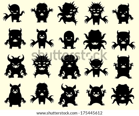Little monsters - stock vector
