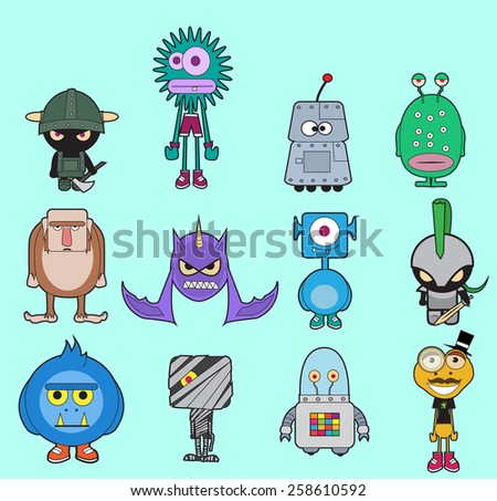 Little monsters pack vector/ Pack of colorful different monsters isolated on blue background, layered and fully editable EPS 10.
