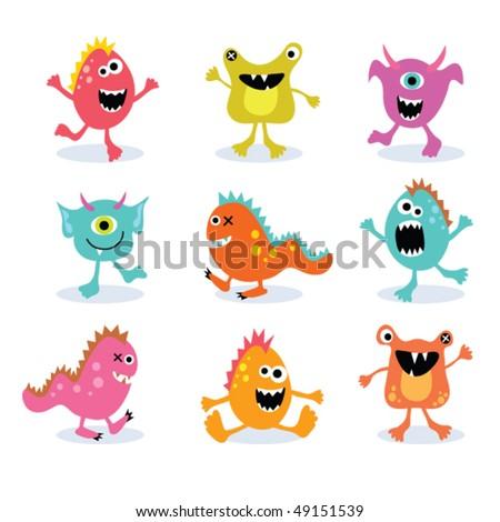 little monsters set 2 - stock vector
