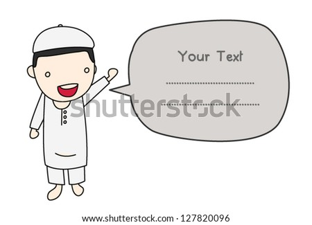little Muslim with message box , Asian people collection