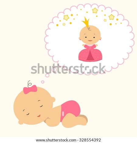 Little newborn girl sleeps and has dreams about the princess and stars. 