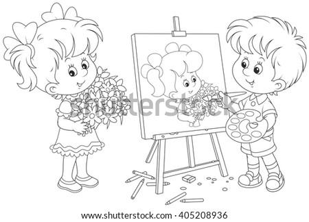 Little painter - stock vector
