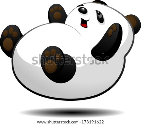 Little panda cub lies on his back. Isolated. - stock vector