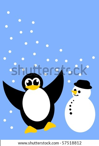 little penguin and a snowman - stock vector