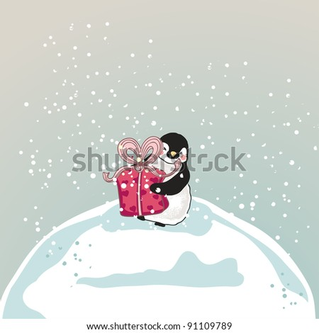 little penguin with a gift box - stock vector