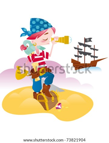 little pirate - stock vector