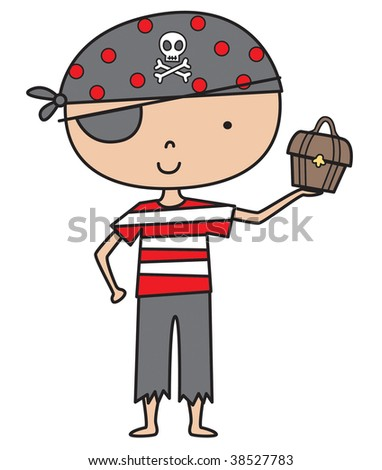 Little Pirate Boy Vector Illustration can easily be re-sized.
