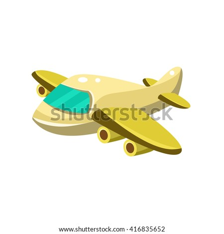 Little Plane  Toy Aircraft Glossy Vector Drawing In Childish Fun Style Isolated On White Background - stock vector