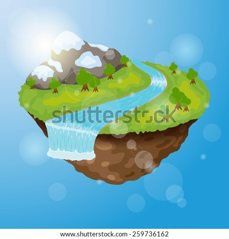 Little planet/island with magic world on it. - stock vector