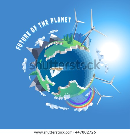 Little planet vector illustration. Eco world, 3d land. Isolated design elements - wind, solar power, tree, map, Earth - stock vector