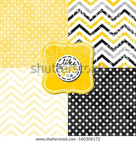 little polka dots stars and chevron black white yellow gray geometric crackle backgrounds set with vintage frames - stock vector