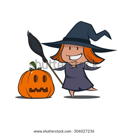little pretty cartoon witch with broom and pumpkin, simple illustration