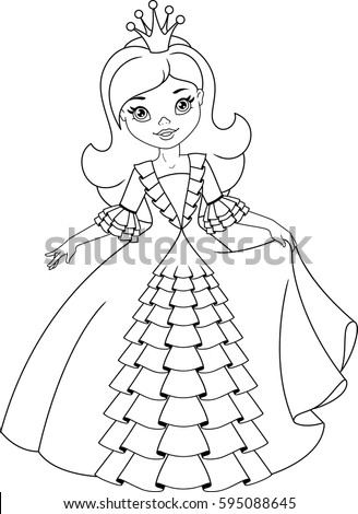 Little Princess Coloring Page Stock Vector 595088645 ...