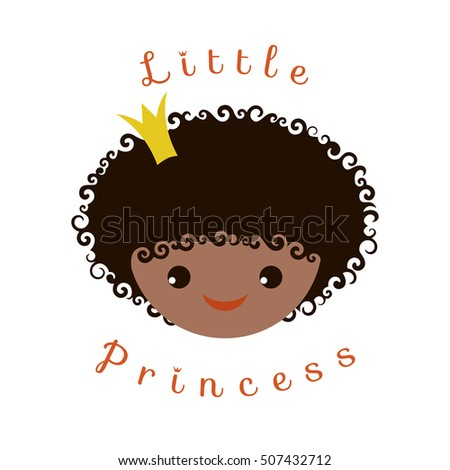 Little Princess Portrait of curly Afro-American smiling girl with a crown on her head. Vector image isolated on white background for girlish design.