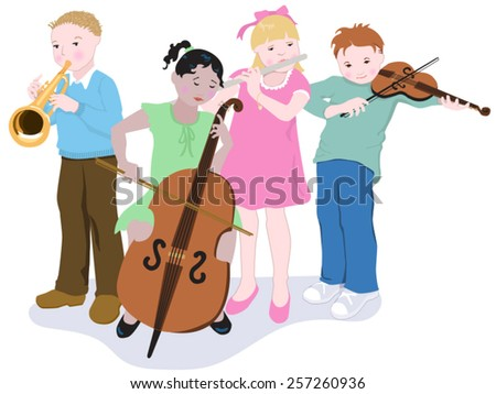 Little Quartet Simple, easy to edit vector illustration of four young children playing musical instruments.