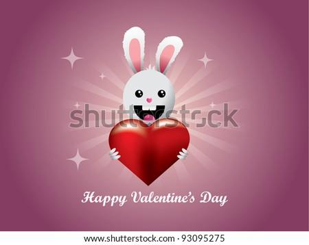 Little rabbit holding heart - stock vector