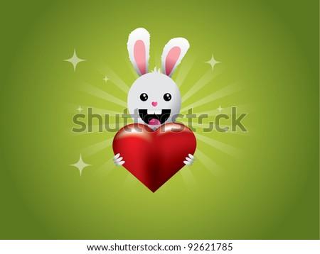 Little rabbit holding heart - vector illustration - stock vector