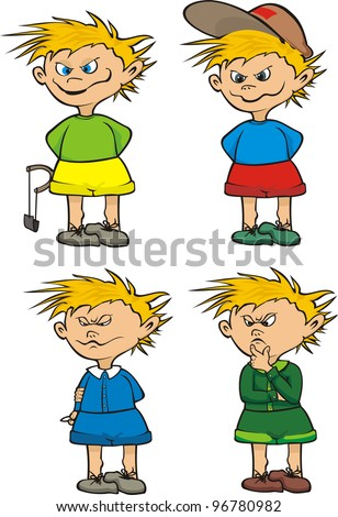 little rascal and schoolboy - stock vector