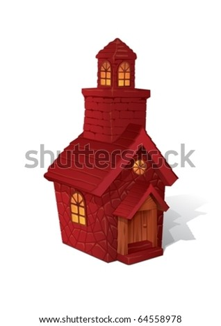 Little red house. Isolated object - stock vector