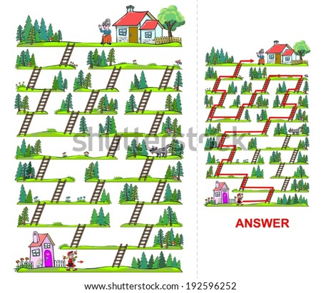 Little Red Riding Hood maze for kids - vectors. Help the girl to find a way to reach her grandma, who is living on the other side of the forest.  - stock vector