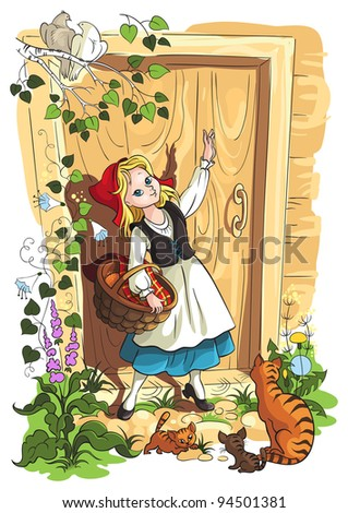 Little Red Riding Hood. Vector art illustration. The fairy tale story by Grimm Brothers. Also available raster version - stock vector
