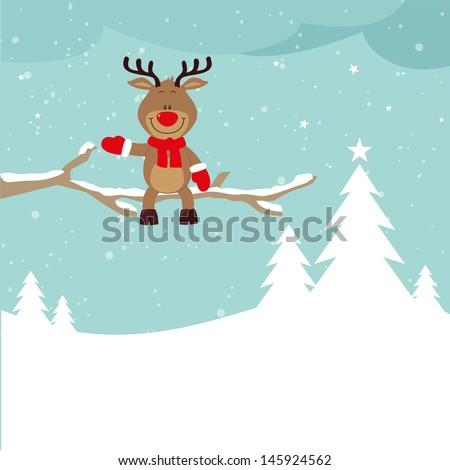 Little  reindeer on a tree - stock vector