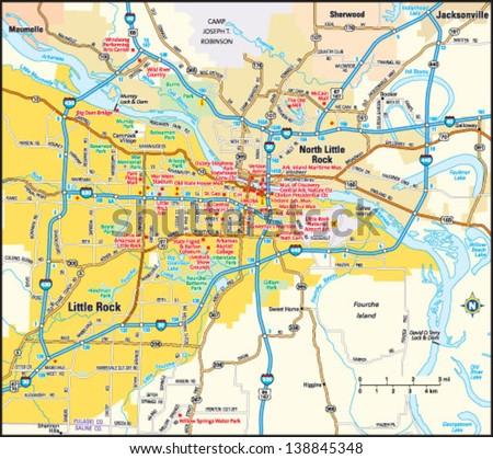 Little Rock Arkansas Area Map Stock Vector 138845348 - Shutterstock