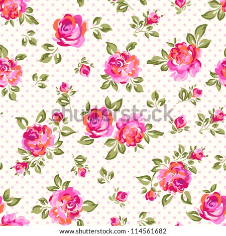 Little Rose seamless background - stock vector