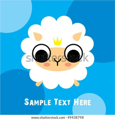 little sheep king greeting - stock vector