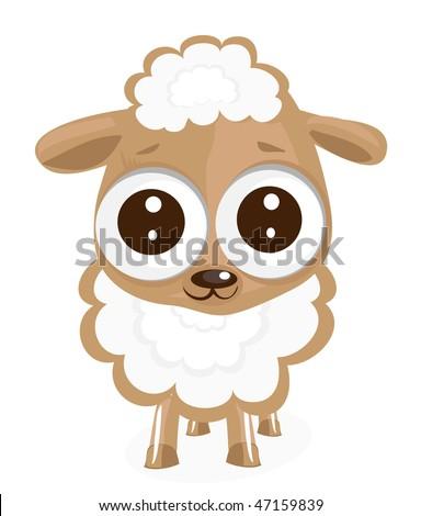 little Sheep Vector Illustration - stock vector