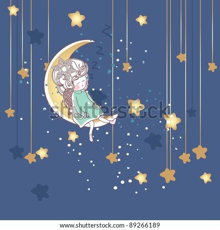 little sleepy fairy - stock vector