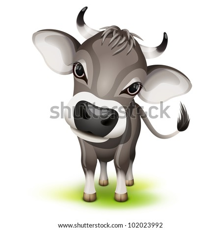 Little swiss cow with a cocked head - stock vector