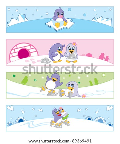 little tiny penguins playing on ice.