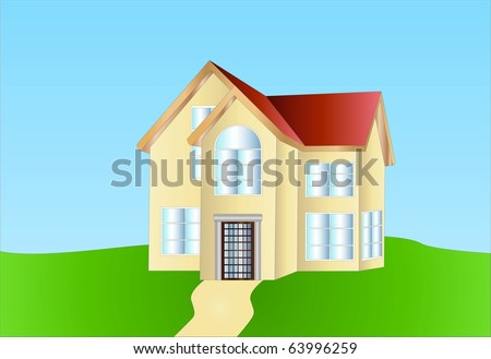 little villa ( background on separate layer ) - stock vector