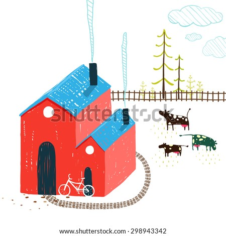 Little Village House Rural Landscape with Forest and Cows on White. Colored hand drawn sketchy pencil feel illustration of. Countryside landscape with building and a bike. - stock vector