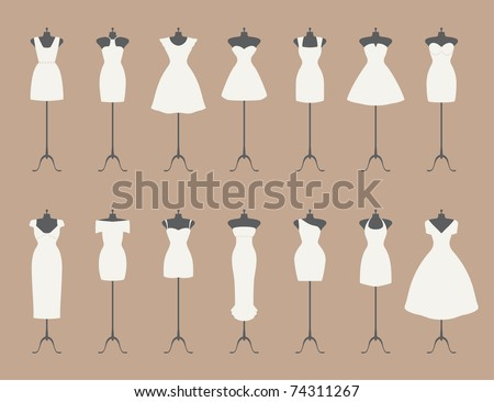 little white dresses - stock vector