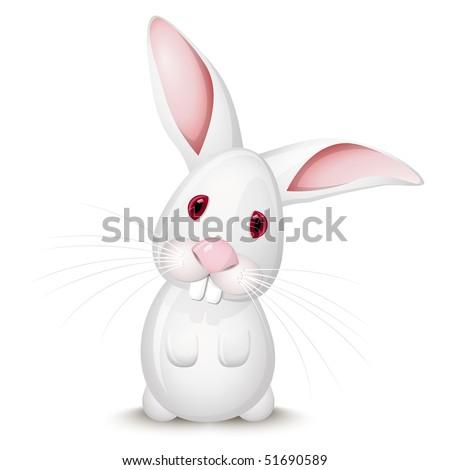 Little white rabbit - stock vector