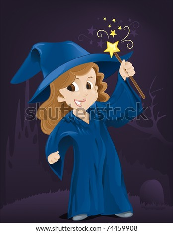 Little Witch - stock vector