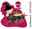 little witch preparing potion in cauldron - stock vector