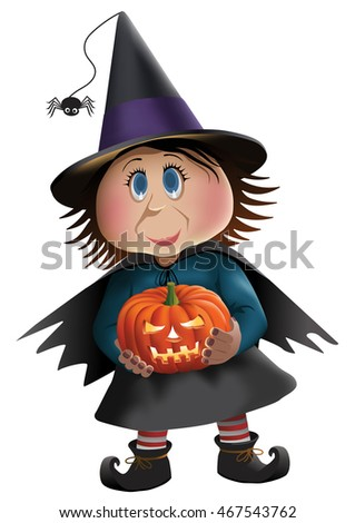 Little witch with a pumpkin isolated.