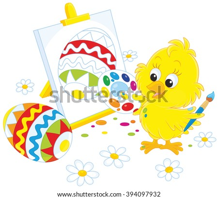 Little yellow chicken drawing a decorated Easter egg - stock vector
