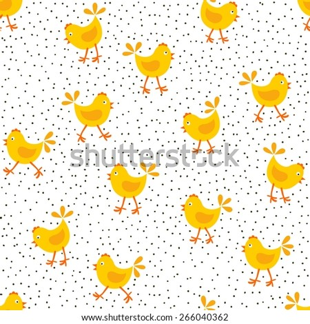 little yellow chickens and dots messy Easter spring holidays seamless pattern isolated on white background - stock vector