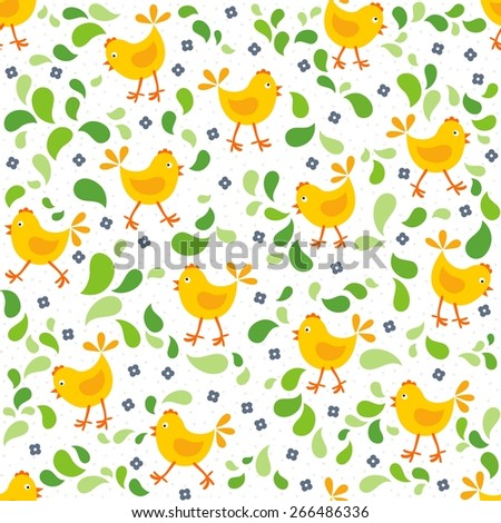 little yellow chickens with green leaves and blue flowers messy Easter spring holidays seamless pattern isolated on white background - stock vector