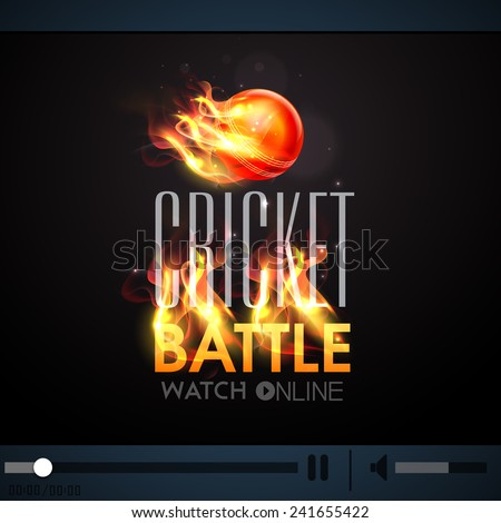 Live Cricket Battle telecast video player with red ball in fire. - stock vector