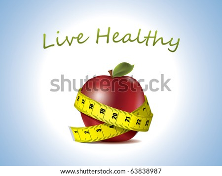 Live Healthy - fresh Apple with measuring tape - stock vector